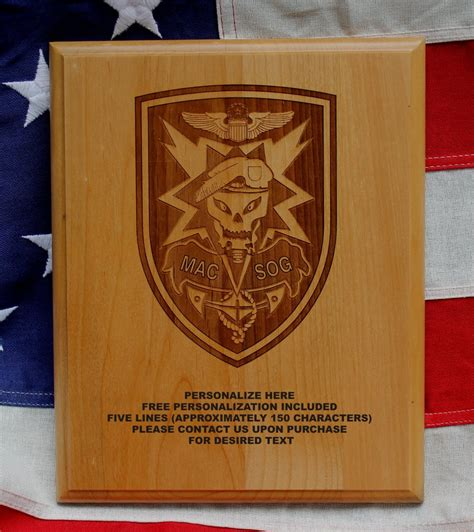 Army MACV SOG laser engraed personalized plaque USA Green