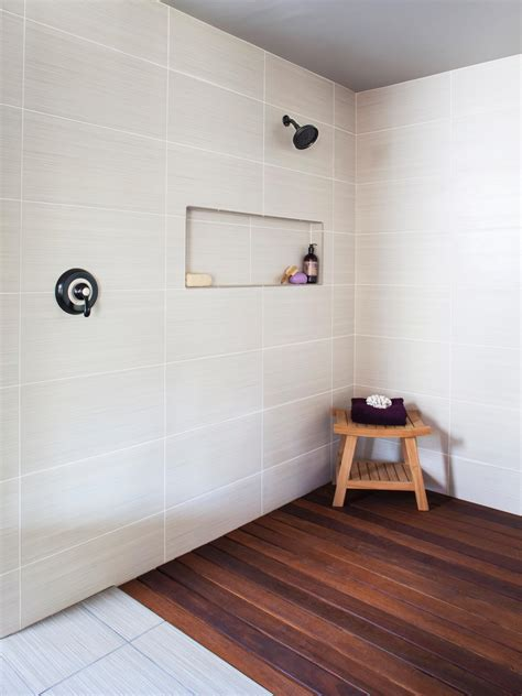 Luxurious Spa-Inspired Shower With Exotic Ipe Wood Floor