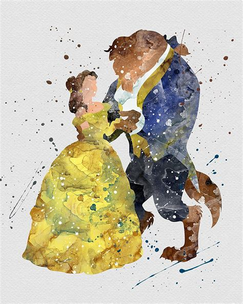 Watercolor Beauty and the Beast | Belle and Beast Home
