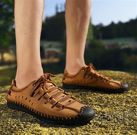 Summer Breathable Lace-Up Leather Moccasins Loafers Men's