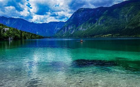 Download wallpapers Slovenia, mountains, summer, lake