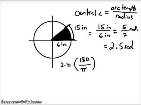 central angle measurement, arc length, and area of a